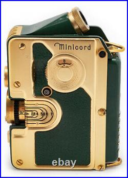 (24) GOERZ Minicord Gold plated withgreen leather, case, beautiful, serviced