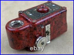 Coronet MIDGET Subminiature Camera Red/Black Bakelite withLeather Case Cute