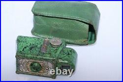 Coronet Midget 16mm compact bakelite collectible camera. Green color with case