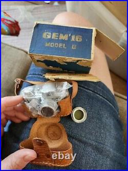 Gem 16 Model II Subminiature Spy Film Camera With Leather Case, VINTAGE