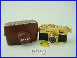 Golden Ricoh 16 Steky Subminiature Spy Camera with Riken 2.5cm F3.5 Lens & Case