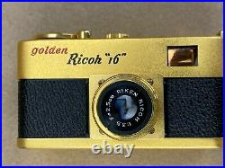 Golden Ricoh 16 Steky Subminiature Spy Camera with Riken 2.5cm Lens Mint with Box