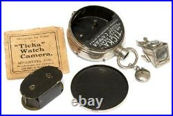 HOUGHTON TICKA WATCH CAMERA WORKS With ANGLE FINDER CAP INSTRUCTIONS FILM SPOOL