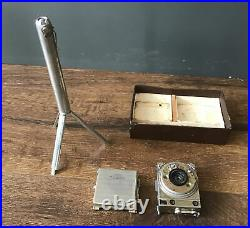 LECOULTRE COMPASS MINIATURE SPY CAMERA IN BOX With TRIPOD SWISS 1930s Free Ship