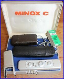 MINOX C SUBMINIATURE SPY CAMERA 3.5/15mm LENS with CASE FILM ORIGINAL BOX VINTAGE