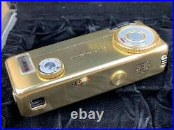 Minolta 16 MG Gold Camera Complete with Case & Flash Rare & Working