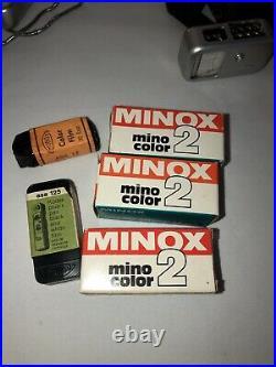 Minox III Vintage Spy Camera withChain Case + 2 Minox Wetzlar Light Meters + Film