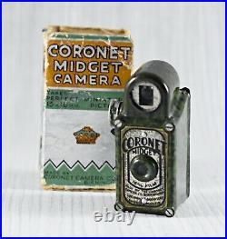 VINTAGE CORONET MIDGET BAKELITE SUB-MINIATURE CAMERA c1930 GREEN