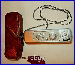 VINTAGE MINOX WETZLAR Germany SUBMINIATURE SPY CAMERA with Leather Case & Chain