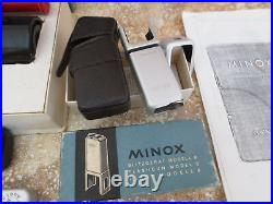 Vintage Lot Minox B Spy Camera / Developing Tank / Flashgun / Film / Tripod More