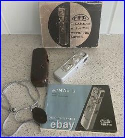 Vintage MINOX B Spy Camera in Original Box Case, Manual West Germany