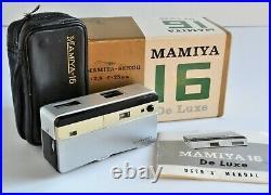 Vintage Mamiya-16 De Luxe / Deluxe 16mm Camera, Case, Box, Manual, Filter