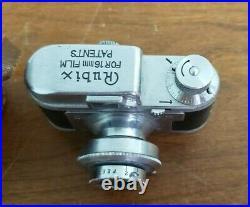 Vintage Miniature Camera RUBIX 16mm Hope Anastigmat 13.5 f25mm withLeather case