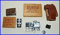 Vintage STEKY Model III Miniature Spy Camera with2 Lenses, Case & Storage Boxes