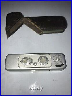Vintage Sliding Minox Spy Film Mini Camera Made In Germany 15mm & Case Complan