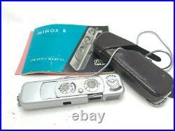 Vintage working MINOX B SPY CAMERA 15mm f/35 Lens Chain & Leather Case